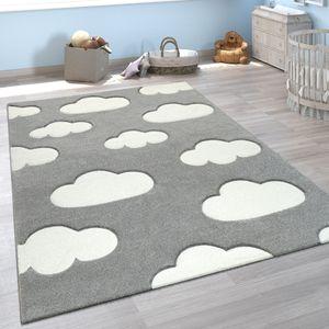 Kinderzimmer Teppich Grau Weiß Pastellfarben Wolken Motiv Kurzflor 3-D Design, Grösse:120x170 cm