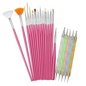20er/set Professionell Nageldesign Stifte Set, Nail Art Brush / Nagelkunst Rosa