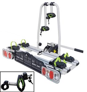 eBike Heckträger VDP-TB011 E-Bike Fahrradträger abschließbar für 2 Räder klappbar für Anhängerkupplung mit Quick-Lock