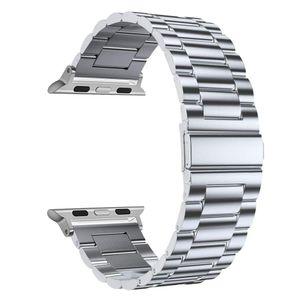 Edelstahl Metall Ersatzarmband Armband für Apple Watch 38-44mm Series SE/6/5/4/3/2/,Silber, 40/42 mm
