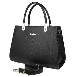 Damen Vintage Tasche Groß Schwarz - 50er Jahre Retro Kroko-Optik Henkeltasche Handtasche Shopper Rockabilly Elegant Leder-Optik