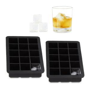 relaxdays 2x Eiswürfelform Silikon Eiswürfel 2,5 cm Eiswürfelbehälter schwarz Eisbehälter