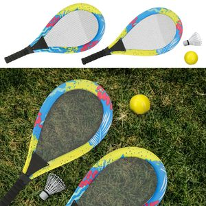 Jumbo Federball Badmington Softball Set Bunt XXL 4-tlg Tennis Soft Ball Schläger