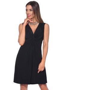 Krisp Damen Kleid mit Knoten-Design vorne, V-Ausschnitt, kurz, ärmellos KP117 (40 DE) (Schwarz)
