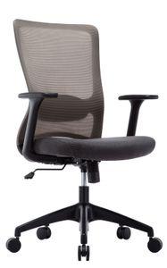 Amoiu Bürostuhl aus Stoff, Ergonomischer Drehstuhl mit Verstellbarer Lordosenstütze, Höhenverstellung und Wippfunktion, Schreibtischstuhl mit Armlehnen für Soho- oder Büroarbeit, Grau