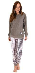 Eleganter Damen Frottee Pyjama Schlafanzug mit Bündchen und Herz Motiv - 291 201 13 570, Farbe:grau, Größe:36/38