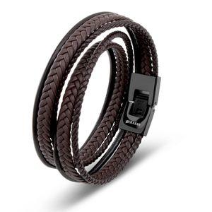 SERASAR | Leder Wickelarmband für Herren mit Schmuckschachtel | Farbe: Braun | Länge: 46cm