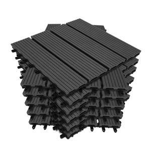 Wolketon Terrassenfliesen WPC Kunststoff 110er 10m2 Spar Set 30x30cm,anthrazit-grau, Garten Klickfliese, Bodenbelag mit Drainage