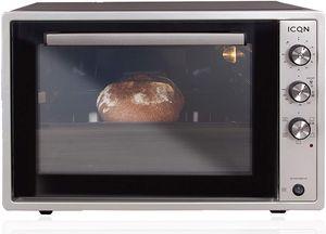 ICQN 60 Liter Mini-Öfen | 1800 W | Mini-Backofen mit Innenbeleuchtung und Umluft | Pizza-Ofen | Doppelverglasung | Drehspieß | Timer Funktion | Emailliert | Inox Grau