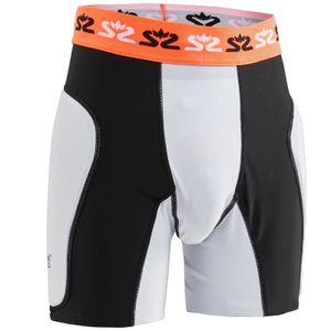 Salming Goalie Protectiv E-Series Shorts mit Tiefschutz für Handball Torhüter weiß/schwarz 1149415-0708 suspensorium Sackschutz, Größe:M