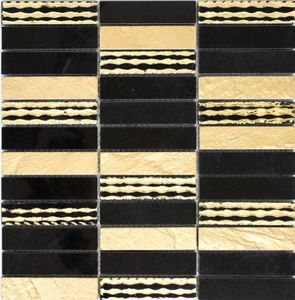 Mosaik Fliese Marmor Naturstein Rechteck Stein Carving gold schwarz MOS40-STN79