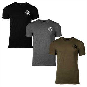 DIESEL 3PACK Herren T-Shirt Rundhals, Round Neck, Stretch Baumwolle, Mohawk, Randal Schwarz/Grau/Khaki L (Gr. Large)