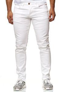 Reslad Jeans-Herren Slim Fit Basic Style Stretch-Denim Jeans-Hose RS-2063 Weiß W33 / L34