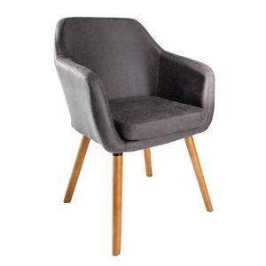 Design Armlehnstuhl SUPREME vintage grau Beine aus Massivholz Esszimmerstuhl Sessel mit Armlehnen