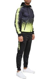 Herren Trainingsanzug Fitness Jogginganzug Basic Casual Streetwear Sportanzug Gym Set Jacke & Hose , Farben:Neongelb, Größe Hosen:S