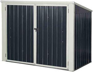 GOPLUS Geraetehaus Mülltonnenbox Gartenlagerhaus 173 x 97 x 134 cm, Geräteschuppen Deckel mit Gasdruckfedern, Metallschuppen mit Abschließbarer Sicherheitstür Aufbewahrungsbox