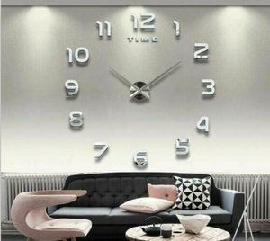 Wanduhr Uhr 3D Wandtattoo Deko Design Spiegel Edelstahl Wand Uhr Groß DIY