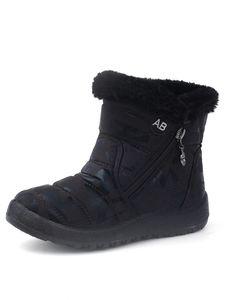 Kinder Jungen Und Mädchen Wasserdichte Schneestiefel Rutschfeste Stiefel Mit Reißverschluss,Farbe: Grau,Größe:33