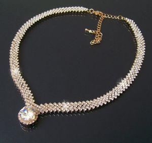 Collier Halskette Kette Hochzeit 40-51cm Gold Zirkonia Schmuck K662
