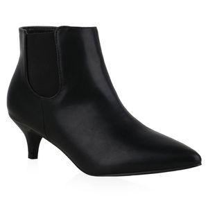 Mytrendshoe Damen Ankle Boots Stiefeletten Stiletto Booties Spitze Schuhe 835929, Farbe: Schwarz, Größe: 37