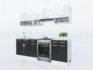 Küche Lux 240 Cm Schwarz Küchenzeile Küchenblock Einbauküche Komplettküche
