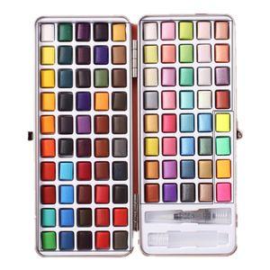 Aquarellfarbkasten 90er Set, hochwertiges Aquarell-Farben-Set bestehend aus 90 Wasserfarben, 1 Wassertankpinsel, - Malkasten für Anfänger und Profis
