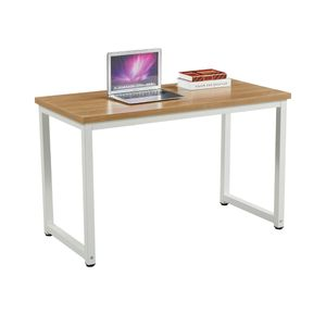 SVITA Uni Bürotisch Eiche-Optik weiße Metall-Beine Computertisch Schreibtisch Arbeitstisch PC Tisch