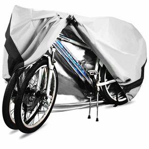 Fahrradabdeckung für 2 fahrräder wasserdichte 210D Oxford-Gewebe Atmungsaktives Draussen Fahrrad Schutzhülle mit Schlossösen Schutz, für Mountainbike und Rennrad 29 Zoll (Silber)