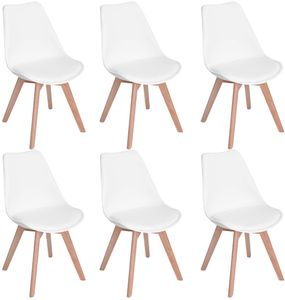HJ 6er set Skandinavischen Retro Design Gepolsterter Stuhl Kunststoff PP Esszimmerstühle mit Massivholz Buche Bein Weiß