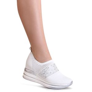 topschuhe24 1749 Damen Plateau Sneaker Halbschuhe Hidden Wedges, Farbe:Weiß, Größe:39 EU