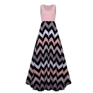 Damen Plus Size Sommerkleid Ärmelloses Maxikleid Lässiges langes Maxikleid, Hell-Pink,4XL