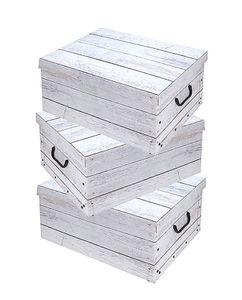 Storage Box 51x37x24 - 3er Set - Holzoptik (weiß)