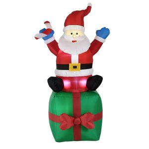 [en.casa]® Weihnachtsmann 180cm - LED Beleuchtet Weihnachten Nikolaus Aufblasbar Deko