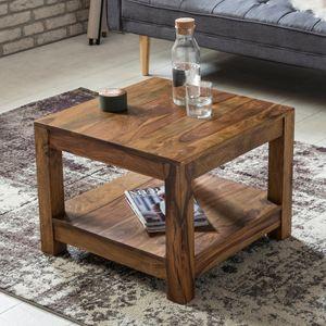WOHNLING Couchtisch MUMBAI Massiv-Holz Sheesham 60 x 60 cm Wohnzimmer-Tisch Design dunkel-braun Landhaus-Stil Beistelltisch