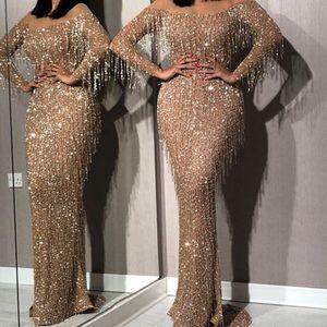 Formale Prom Party Kleid Quaste Abend schlankes Kleid