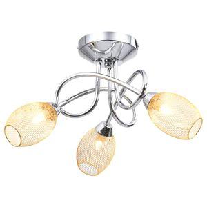 Deckenleuchte , Wandlampe, Deckenlampe, Hängelampe für Wohnzimmer mit Vergoldeten Lampenschirmen für 3 G9 Birnen