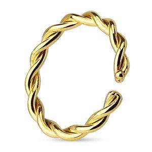 viva-adorno 0,8 x 8mm Nasenpiercing Nasenring Septum Helix Fake Piercing Septum Ring geflochten gedreht Chirurgenstahl Z517,gold