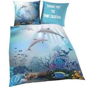 Delfin Bettwäsche in Biber 80x80 + 135x200 cm · Kinder-Bettwäsche für Mädchen & Jungen - Meerestiere, Fische & Korallen