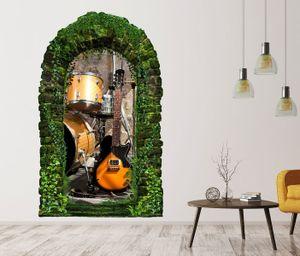 3D Wandtattoo Garten Tor Dschungel Musik Gitarre Schlagzeug Bühne Retro Pflanzen Tür Gewölbe Wand Aufkleber Wandsticker 11FB439, Größe in cm:27cmx45cm