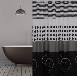 Textil Duschvorhang 120x200 cm black and white inkl. Duschvorhangringe schwarz weiss