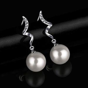 Perlenohrringe Weiß Muschelkernperle Zirkonia Hängend Ohrringe Perlen Echte 925