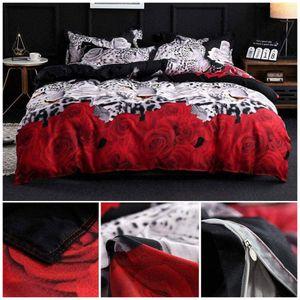 LOZAYI Leopard weiße und rote Rose Blumendruck 4 Stück Bettbezug Größe Bettbezug (Doppelbett), rot, 200cmX230cm