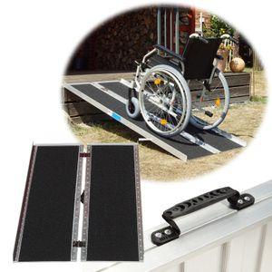 Rollstuhlrampe 213 cm klappbar leicht 270 kg Alu Auffahrrampe Schwellenrampe Friktionsbeschichtung