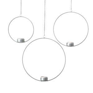 3tlg. Teelichthalter CIRCLE silber aus Metall zum Hängen Metallkreis (3 Größen)