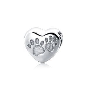 PANDACHARMS Hundepfötchen Herz Silber Charm 925 Silber passt Pandora Moments