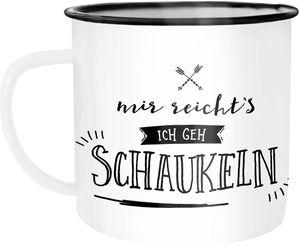 Emaille Tasse Becher Mir reichts ich geh schaukeln Sprüche Spruch Kaffeetasse Moonworks® weiß-schwarz unisize