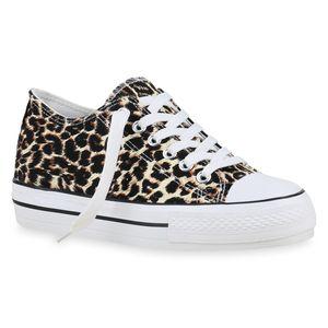 Mytrendshoe Damen Plateau Sneaker Turnschuhe Schnürer Plateauschuhe 825911, Farbe: Leopard, Größe: 41