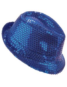 Borsalino Partyhut mit Pailletten blau