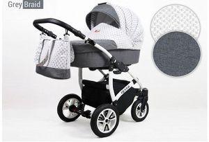 Kinderwagen Queen, - 3 in 1 Set Wanne Buggy Babyschale Autositz mit Zubehör grey