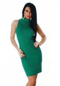 Ärmelloses Feinstrick Business Midi Kleid mit Rollkragen, Farbe: Grün, Größe: One Size (Einheitsgröße)
